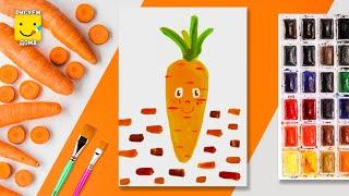 Рисуем поэтапно овощи. Морковка. Морковь. Уроки рисования для детей.