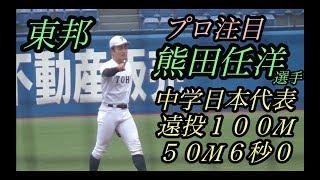 東邦監督「関根大気(横浜)よりも良い」!四番ショート熊田任洋選手!
