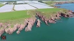 Arbroath Cliffs, Angus, Scotland Aerial Drone Video