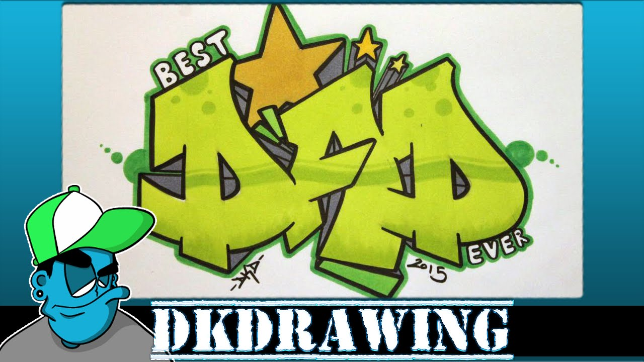 how to draw graffiti letters dad for fathers day youtube