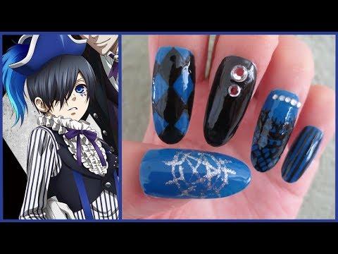 Cute Nail Art Wallpaper 黒執事 Kuroshitsuji Anime Manga Ciel Inspired Nails Youtube