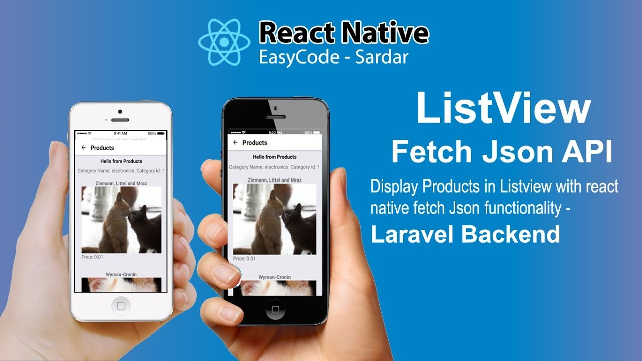#2 React Native Listview || Fetch Products Json API || Mobile app  development using React Native