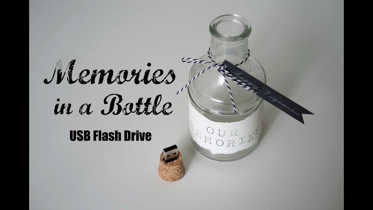 diy memories in a bottle cork usb flash drive anniversary gift