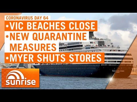 Coronavirus day 64: New quarantine measures; VIC beaches close; Myer shuts stores   7NEWS