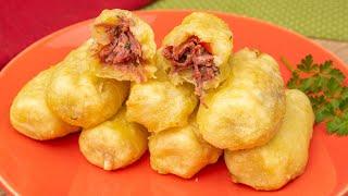 Bolinho de Mandioca Com Carne Seca e Queijo – Sem Glúten – Feito Na Fritadeira Elétrica