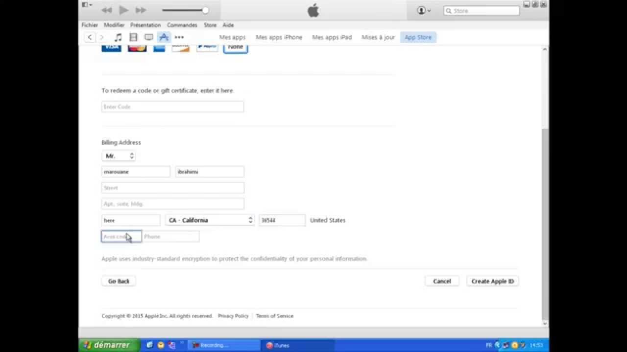 how to create a free apple id account without credit card