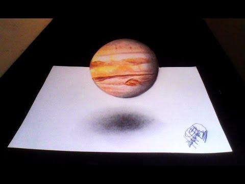 Dibujo de Planeta Jupiter (ilusión óptica)   Drawing planet Jupiter 3D  HD 60fps