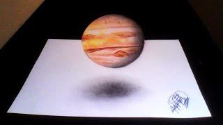 Dibujo de Planeta Jupiter (ilusión óptica) | Drawing planet Jupiter 3D |HD 60fps