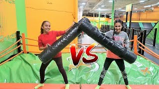 Kids playing at the trampoline park! hzhtube kids fun vs sisters fun tube
