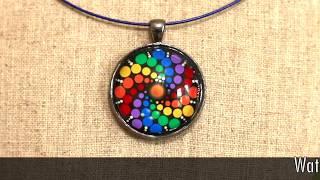First Ever Hand Painted Dot Mood Mandala™ Pendant Wearable Art Jewelry