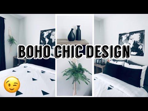 BOHO CHIC ROOM | BLACK AND WHITE THEMED |BEDROOM MAKEOVER