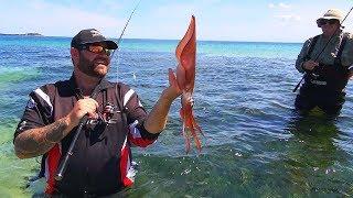 How to Catch Landbased Squid With Oz Fish TV  Using Black Magic Squid Snatchers