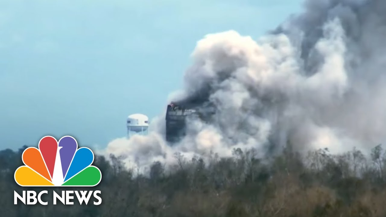 Louisiana Chemical Plant Catches Fire After Hurricane Laura | NBC Nightly News