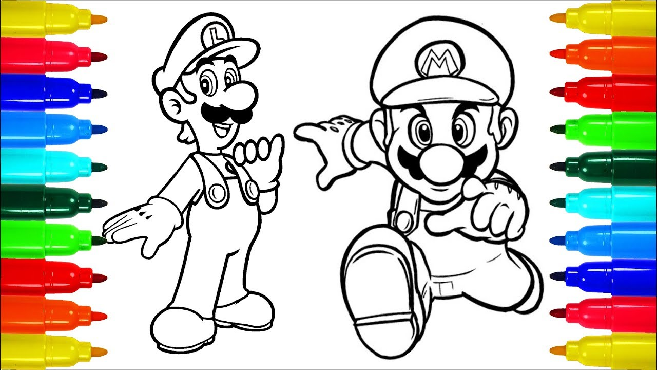 Mario And Luigi Spongebob Coloring Pages Colouring Pages For Kids