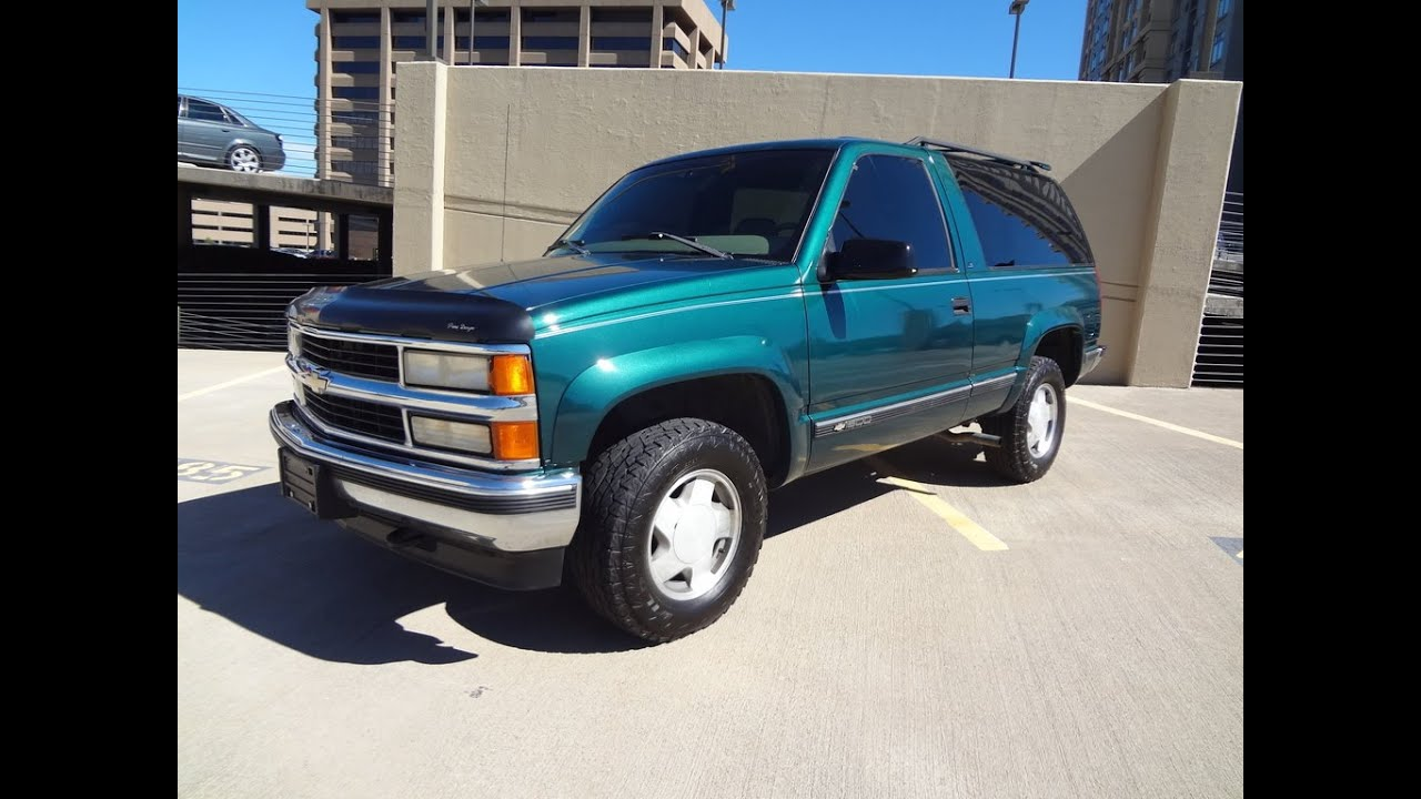 rare 1997 chevrolet 2 door tahoe 4x4 low miles remote start green machine for sale youtube. Black Bedroom Furniture Sets. Home Design Ideas
