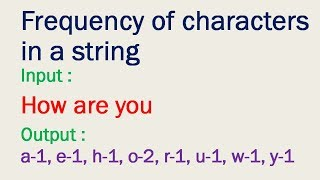 Program to find frequency of characters in a string