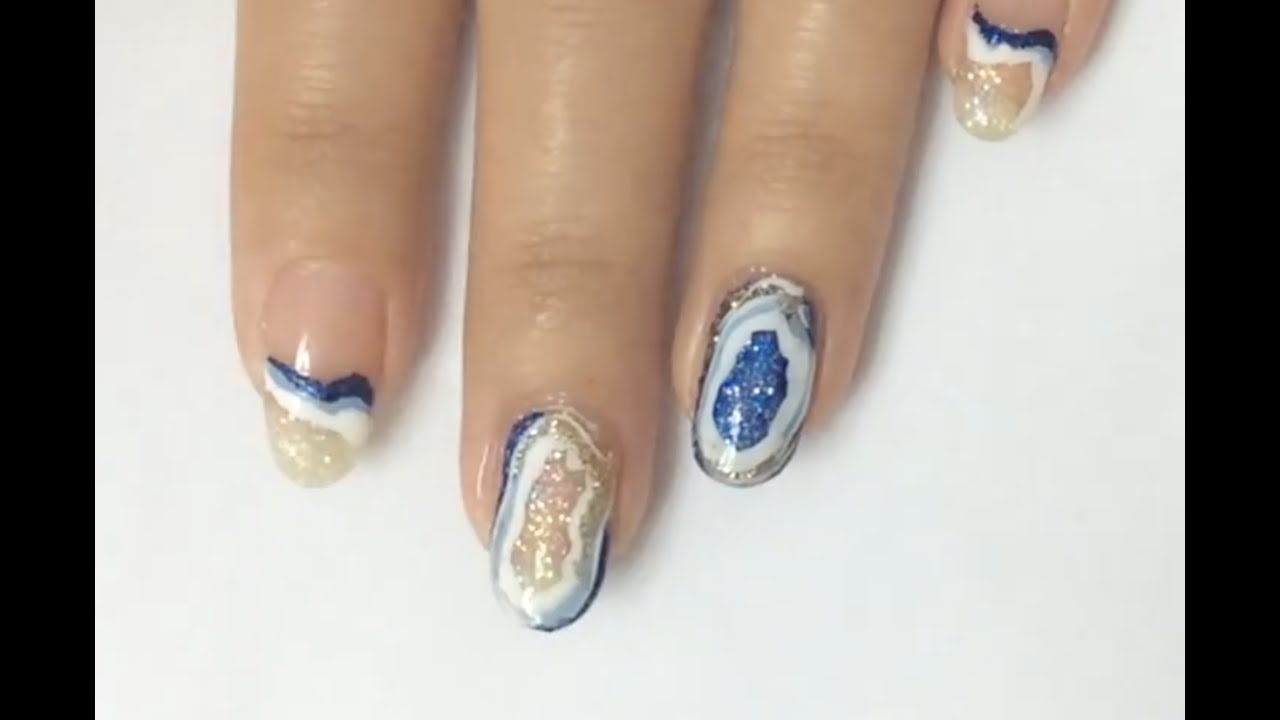 Geode Nail Art Tutorial By I Scream Nails Full Hand Youtube
