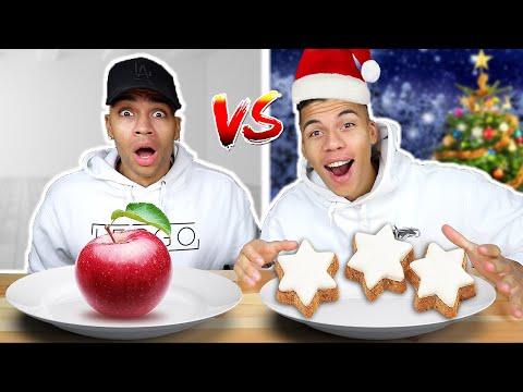 WEIHNACHTS ESSEN VS NORMALES ESSEN CHALLENGE !!! | Kelvin und Marvin