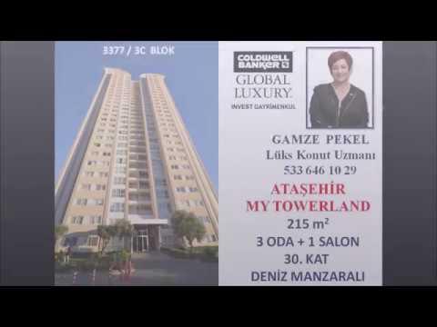 GAMZE PEKEL' den ATAŞEHİR MY TOWERLAND 3377 BLOKTA EN BÜYÜK 3+1 DAİRE 215 m2 SATILIK 30. KAT