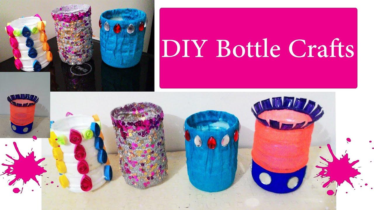 4 Diy Waste Bottle Crafts Diy Bottle Pen Holder Youtube