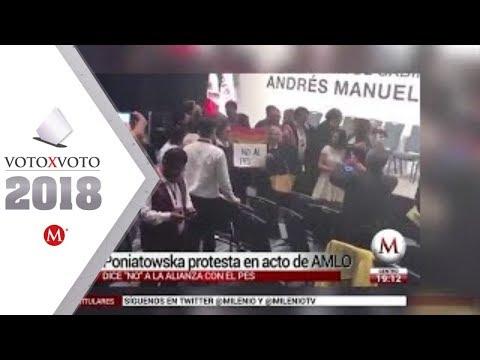 Elena Poniatowska dice no a alianza con PES en acto de AMLO