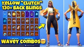 "NEW YELLOW ""CLUTCH"" SKIN Showcased With 130+ BACK BLINGS! Fortnite BR (YELLOW CLUTCH SKIN COMBOS)"