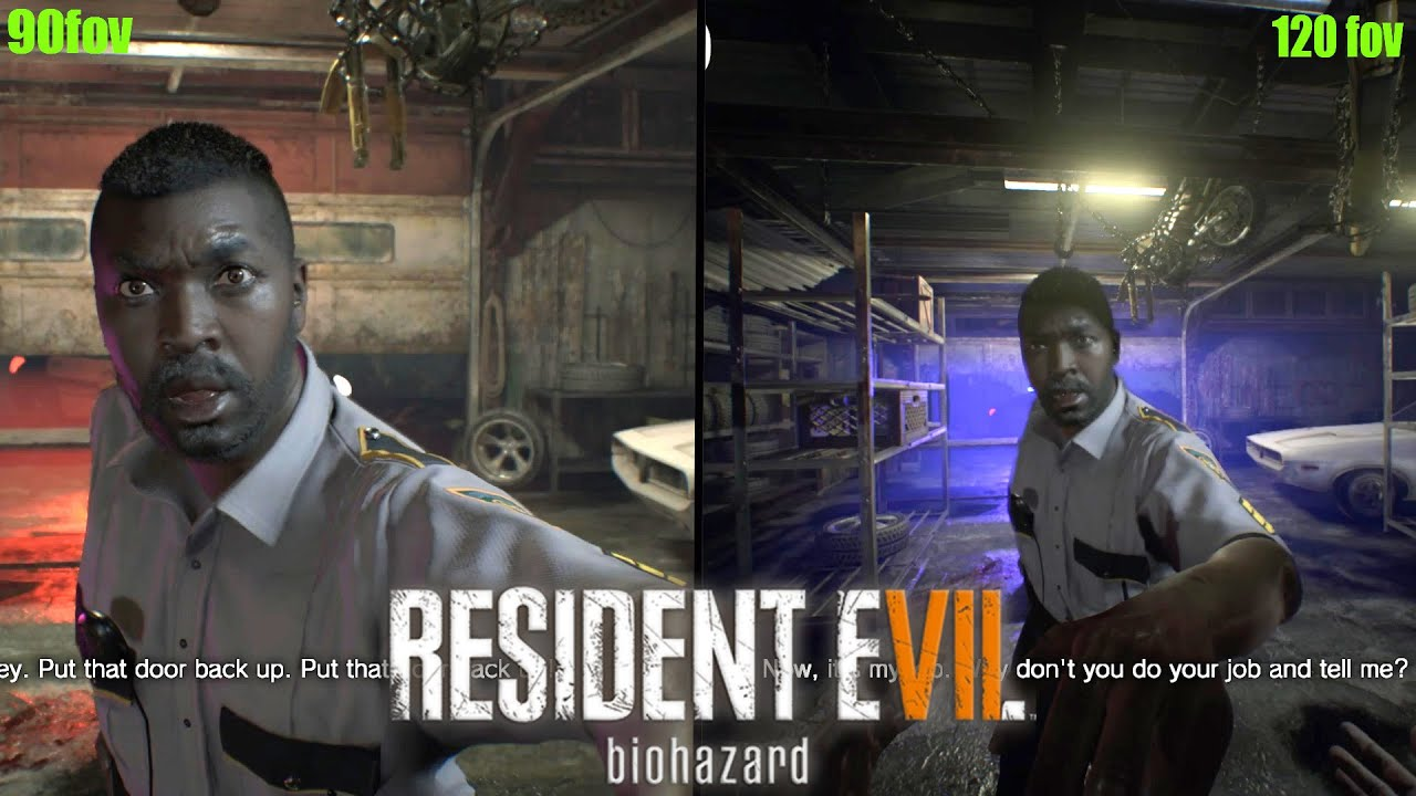 Resident Evil 7 90 Fov Vs 120 Fov Trainer Comparison Youtube