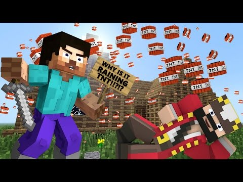 WHY IS IT RAINING TNT!?!?!! Minecraft Trolling & Griefing