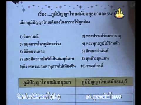 120 P5his 550224 C historyp 5 ประวัติศาสตร์ป 5 ใบงาน ภูมิปัญญาไทยสมัยอยุธยาและธนบุรี