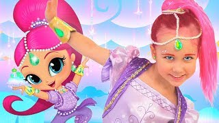 Julia turn into genie from Shimmer & Shine cartoon Dress up and Kids Makeup