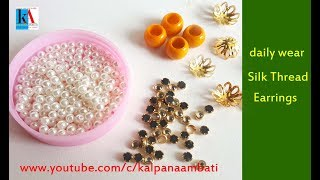 How to make Beautiful Silk Thread Earrings at home || Daily wear beaded Earrings tutorial