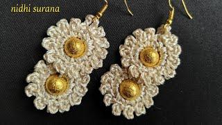 💖 Crochet Flower Earrings || Flowers in a row (0161)