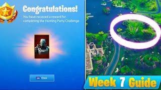Fortnite WEEK 7 CHALLENGES GUIDE! - Hunting Party UNLOCKED, Floating Rings + More (Season 6 Week 7)