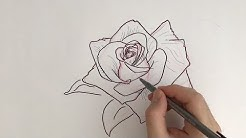 how to draw a rose tattoo design