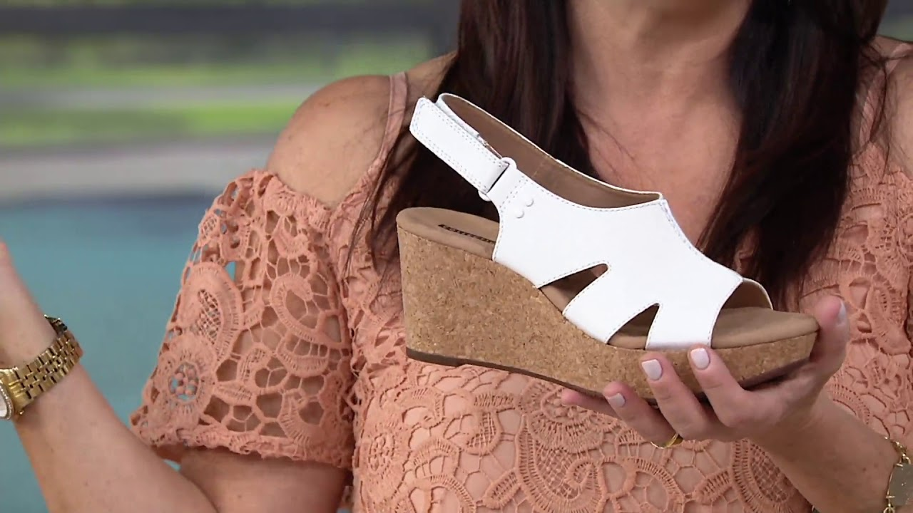 a5f346897a8 Clarks Leather Cork Wedge Adjustable Sandals - Annadel Bari on QVC ...