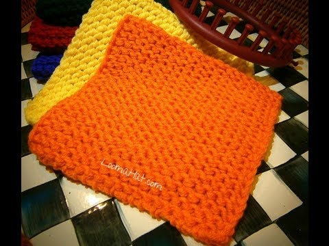 LOOM KNITTING : Knit a Square  - Flat Panel on round, circular, straight or long