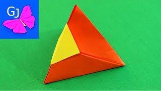 Оригами Коробочка Пирамида с замком из бумаги