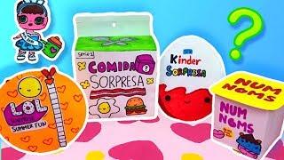 ABRIENDO JUGUETES CASEROS: LOL SURPRISE, KINDER SORPRESA Y NUM NOMS!