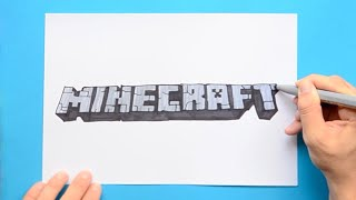 How to draw and color Minecraft Logo