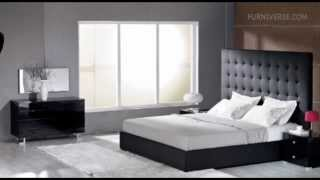 Lyrica   Black Bonded Leather Tall Headboard Bed