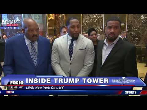 MUST WATCH: NFL Legends Jim Brown and Ray Lewis Meet Donald Trump, Speak with Press at Trump Tower