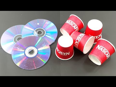 recycling cd disc & waste coffee Paper cups craft | Best out of waste | recycling cd disc reuse