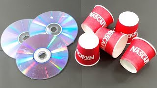 recycling cd disc & waste coffee Paper cups craft   Best out of waste   recycling cd disc reuse