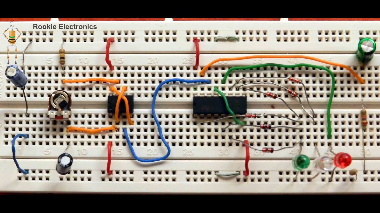 Led Traffic Light Control Circuit 555 Timer And 4017 Youtube Schematic