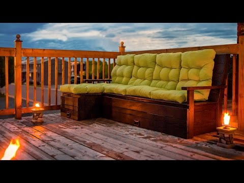 Build DIY wood outdoor sectional sofa / bench - Construction divan extérieur bois
