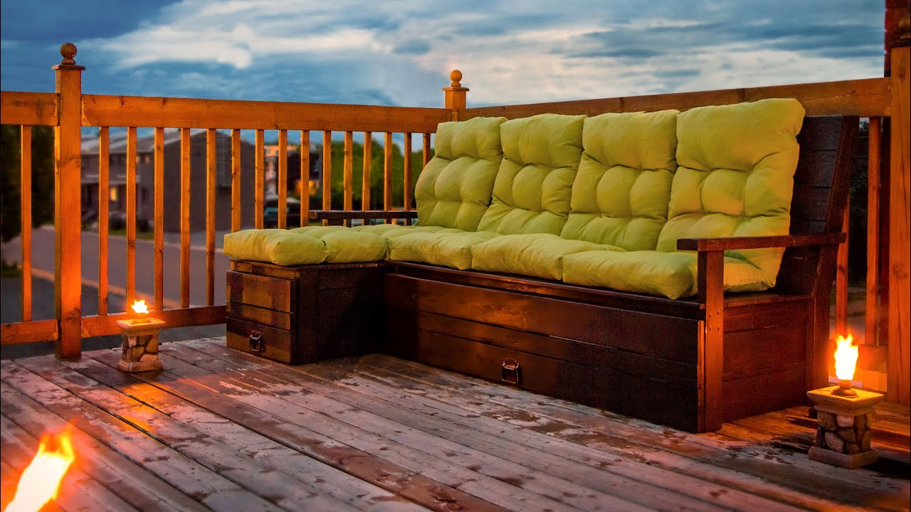 DIY Outdoor Wood sectional sofabench with storage