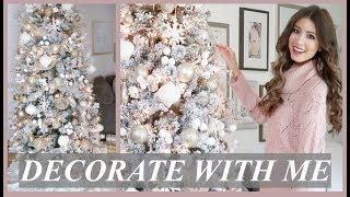 DECORATE MY CHRISTMAS TREE WITH ME 2018 | HOW TO DECORATE WITH RIBBON | WHITE + GOLD THEME