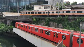 【ちゅうおうせん、まるのうちせん】中央線快速 E233系、東京メトロ丸ノ内線 2000系@御茶ノ水駅