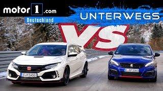 Honda Civic Type R vs. Peugeot 308 GTi | UNTERWEGS mit Daniel Hohmeyer