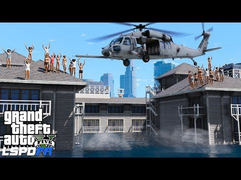 GTA 5 Coastal Callouts | USAF Pararescuemen Airlift Hurricane Flood Victims From Apartment Complex